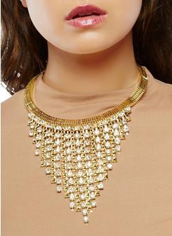 Metallic Mesh Rhinestone Collar Necklace with Drop Earrings - 1138074141075