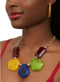 Flat Stone Necklace with Open Hoop Earrings - 1138074141251