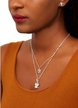 Layered Mini Butterfly Charm Necklace with Stud Earrings - 1138074141333