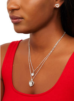 Heart Pendant Layered Necklace and Stud Earrings Set - 1138074141334