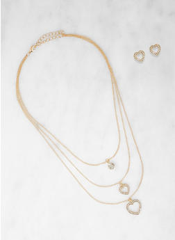 Layered Rhinestone Charm Necklace with Heart Stud Earrings - 1138074141357