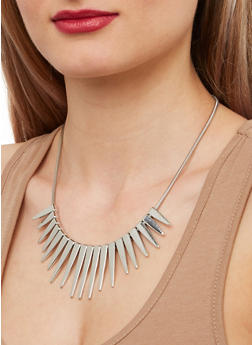 Metallic Spike Necklace and Stud Earrings - 1138074141526