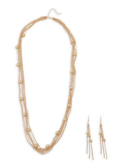 Long Layered Necklace with Matching Earrings - 1138074142206