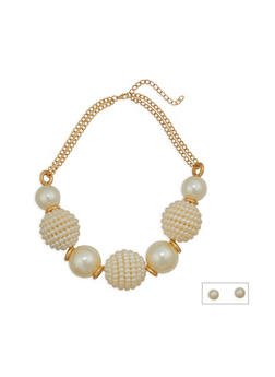 Large Faux Pearl Necklace and Stud Earrings - 1138074143097