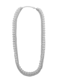 Rhinestone Chain Layered Necklace - 1138074146145