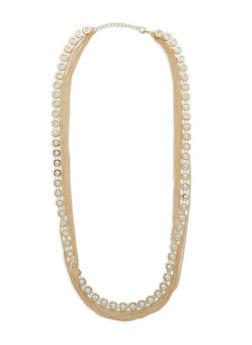 Rhinestone Chain Layered Necklace - 1138074146145