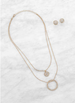 Layered Rhinestone Charm Necklace with Stud Earrings - 1138074146610
