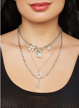 Lock and Key Charm Necklace with Stud Earrings - 1138074171026