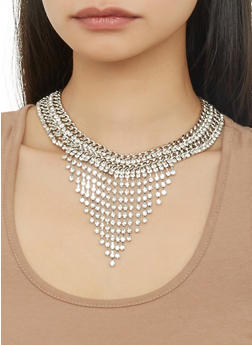 Rhinestone Collar Necklace with Stud Earrings - 1138074171038