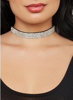 Rhinestone Choker and Assorted Earrings - 1138074171044