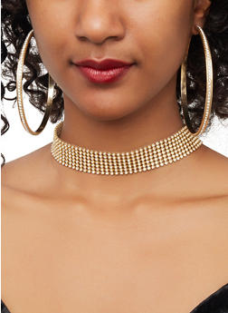 Rhinestone Choker Necklaces and Hoop Earrings - 1138074171080