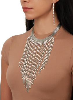 Metallic Rhinestone Fringe Necklace and Earrings Set - 1138074171105
