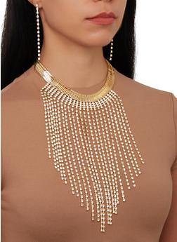 Metallic Rhinestone Fringe Necklace and Earrings Set - 1138074171105