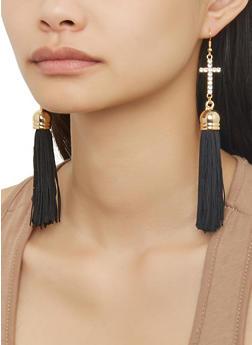 Rhinestone Cross Tassel Drop Earrings - 1138074171312