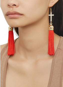 Rhinestone Cross Tassel Drop Earrings - 1138074171312