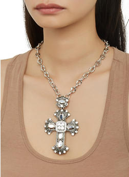 Gothic Crystal Cross Necklace - 1138074171329