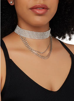 Rhinestone Layered Choker Necklace with Stud Earrings - 1138074172223