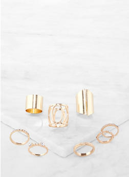 Set of 8 Metallic Rings - 1138074173004
