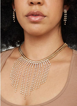 Rhinestone Fringe Snake Chain Necklace with Earrings - 1138074176231