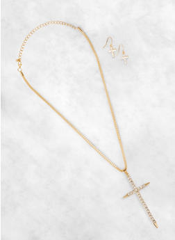 Rhinestone Cross Pendant Necklace and Earrings Set - 1138074179071