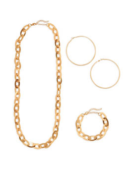 Flat Chain Link Necklace Bracelet and Hoop Earrings Set - 1138074179173