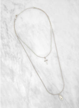 Layered Religious Cross Necklace - 1138074371762