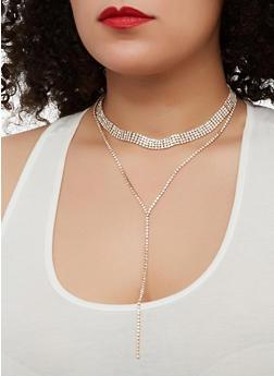 Rhinestone Choker and Earrings - 1138074751521