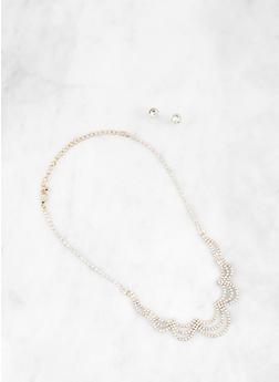 Wavy Rhinestone Necklace with Stud Earrings - 1138074751980