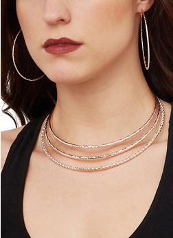 Collar Necklace with Cuff Bracelet and Hoop Earrings - 1138074974001