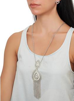 Rhinestone Teardrop Necklace with Stud Earrings - 1138074974003