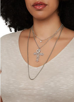 Layered Cross Charm Necklace and Stud Earrings - 1138074974017
