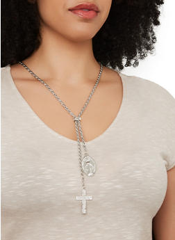 Metallic Religious Drop Chain Necklace and Stud Earrings - 1138074974018