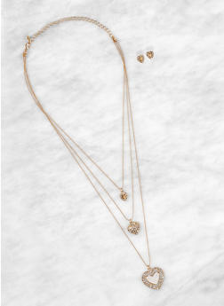 Layered 3 Heart Charm Necklace and Earrings Set - 1138074974022