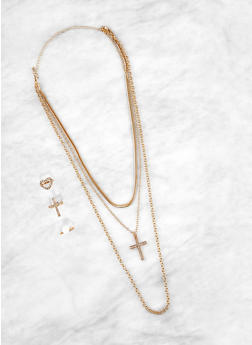 Layered Cross Necklace with Ring Trio - 1138074974023
