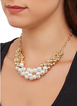 Faux Pearl Cluster Necklace - 1138074974024