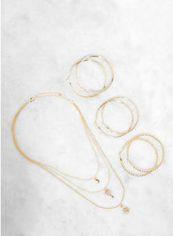Layered Lock and Key Charm Necklace with Hoop Earring Trio - 1138074974044
