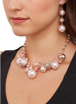 Faux Pearl Cluster Necklace with Earrings - 1138074974101