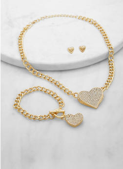 Rhinestone Heart Curb Chain Necklace and Bracelet with Stud Earrings - 1138074974110
