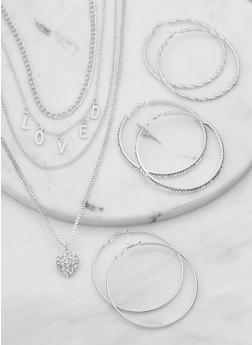 Loved Layered Necklace with Rhinestone Hoop Earring Trio - 1138074974116