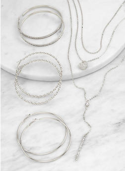 Layered Charm Necklace and Hoop Earring Trio - 1138074974160