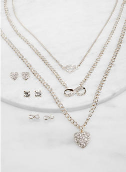 Layered Charm Necklace with Stud Earring Trio - 1138074974161