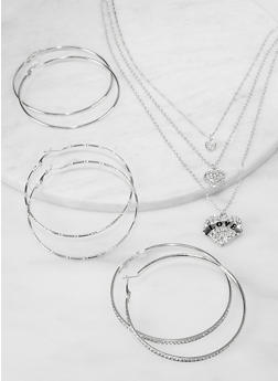 Love Heart Layered Necklace with Hoop Earring Trio - 1138074974169