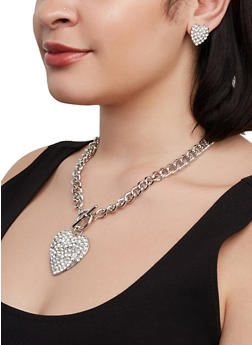 Rhinestone Heart Curb Chain Necklace and Stud Earrings Set - 1138074974174
