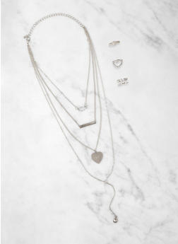 Love Heart Charm Layered Necklace with Ring Trio - 1138074976011