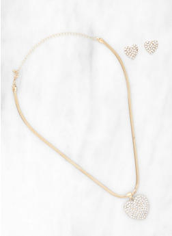 Heart Pendant Necklace and Stud Earrings - 1138074981143