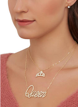 Queen Necklace with Stud Earrings - 1138074981902