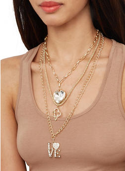 Love Charm Layered Necklace with Stud Earrings - 1138074982195