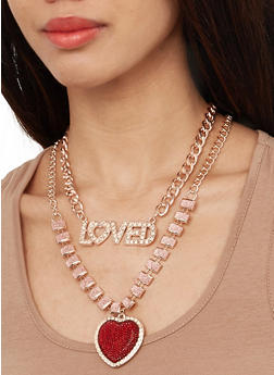 Loved Glitter Chain Necklace with Earrings - 1138074982199