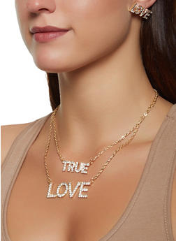 True Love Layered Necklace and Earrings Set - 1138074987190