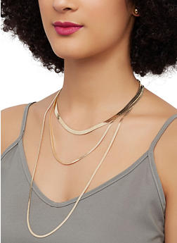 Flat Chain Layered Necklace with Stud Earrings - 1138074987192